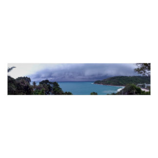 Surin Beach Phuket Thailand Panorama with Storm Posters