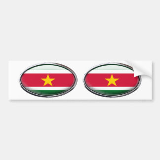 Suriname Flag Glass Oval Bumper Sticker