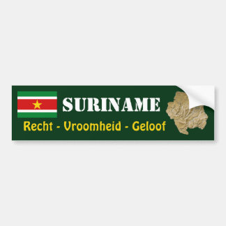 Suriname Flag + Map Bumper Sticker