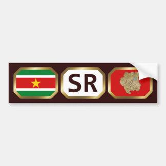 Suriname Flag Map Code Bumper Sticker Car Bumper Sticker