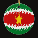 Suriname Gnarly Flag Ceramic Ornament