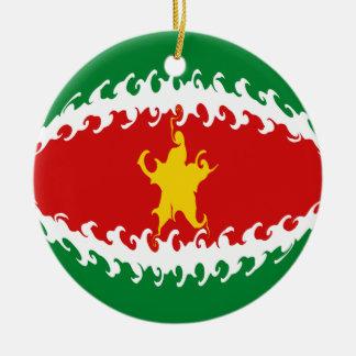 Suriname Gnarly Flag Ceramic Ornament