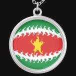 Suriname Gnarly Flag Silver Plated Necklace