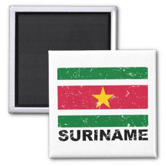 Suriname Vintage Flag 2 Inch Square Magnet