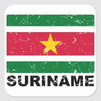 Suriname Vintage Flag Square Sticker