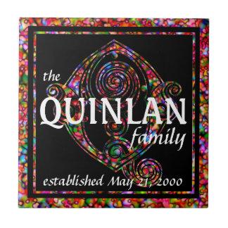 Surname Family Custom Red Anniversary Monogram Ceramic Tile