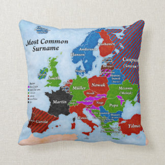 Surnames Europe Map Pillow