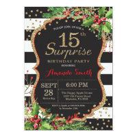 Surprise 15th Birthday Invitation Christmas Gold