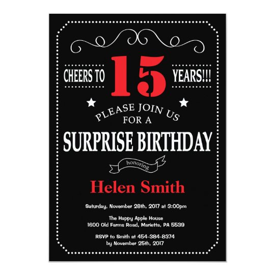 Surprise 15th Birthday Invitation Red And Black