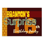 Surprise 16th Birthday Gold and Chocolate Stars Invites
