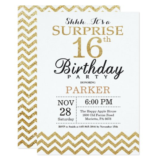 Surprise 16th Birthday Invitation Gold Glitter