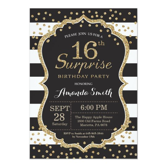 Surprise 16th Birthday Invitation Gold Glitter