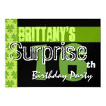 Surprise 16th Birthday Lime Green Pattern W432 Custom Announcements