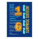 SURPRISE 16th Birthday Modern Blue and Gold W526 Cards