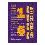 SURPRISE 16th Birthday Modern PURPLE GOLD W526E Cards