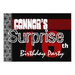 Surprise 16th Birthday Modern Red Black Stars v10 Personalized Invitations