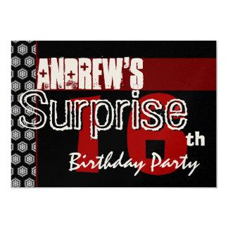Surprise 16th Birthday Modern Red White Black Card