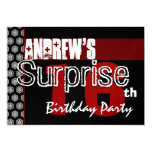 Surprise 16th Birthday Red White Black Metallic v7 Personalized Announcements