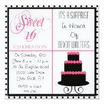 "Surprise 16th Birthday-Sweet 16 Party Invitation 5.25"" Square Invitation Card"