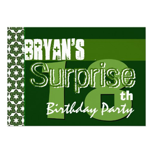 """Surprise 18th Birthday Green And White Stars 5"""" X 7"""