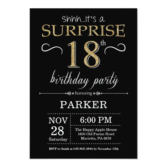 Surprise 18th Birthday Invitation Black And Gold