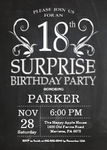 Surprise 18th Birthday Invitation Chalkboard