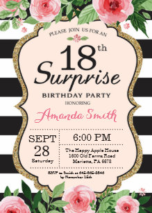 Surprise 18th Birthday Invitation Floral