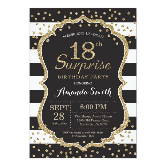 Surprise 18th Birthday Invitation Gold Glitter