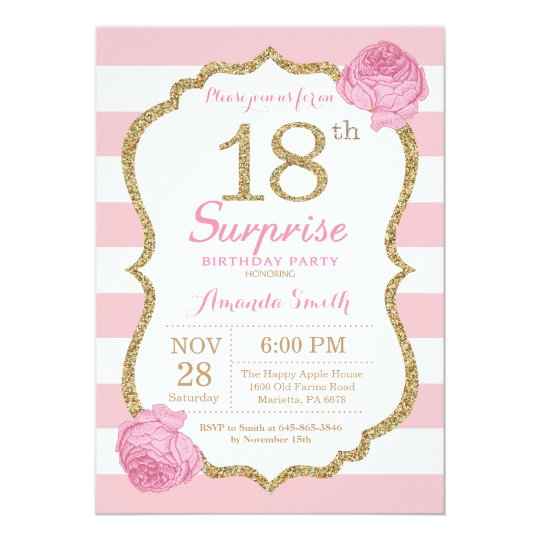 Surprise 18th Birthday Invitation Pink And Gold