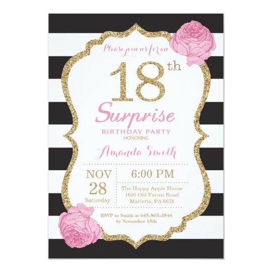 Surprise 18th Birthday Invitation Pink Black Gold