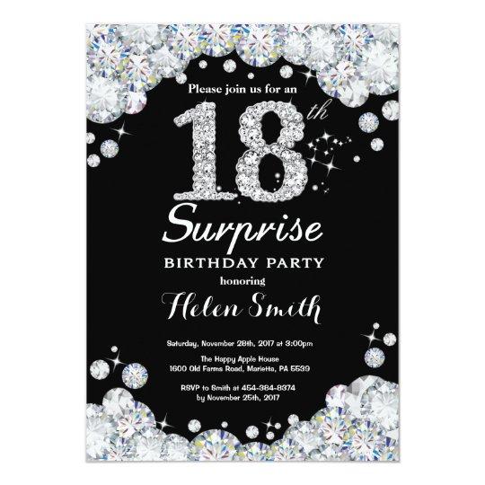 surprise 18th birthday invitation silver diamond  zazzle