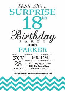 Surprise 18th Birthday Invitation Teal Chevron