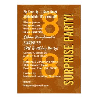 SURPRISE 18th Birthday Modern Gold Stars V001 Invitations