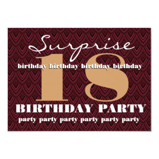 Surprise 18th Birthday Party Feathered Chevron Card