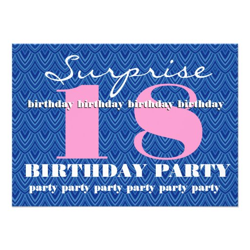 Surprise 18th Birthday Party Feathered Chevron Invitations