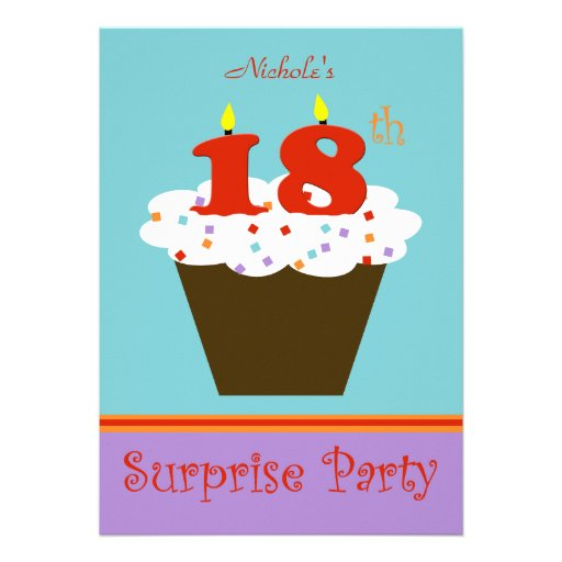 "Surprise 18th Birthday Party Invitation 5"" X 7"" Invitation"