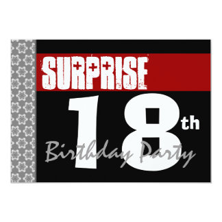 Surprise 18th Birthday Party Modern Black and Red Card
