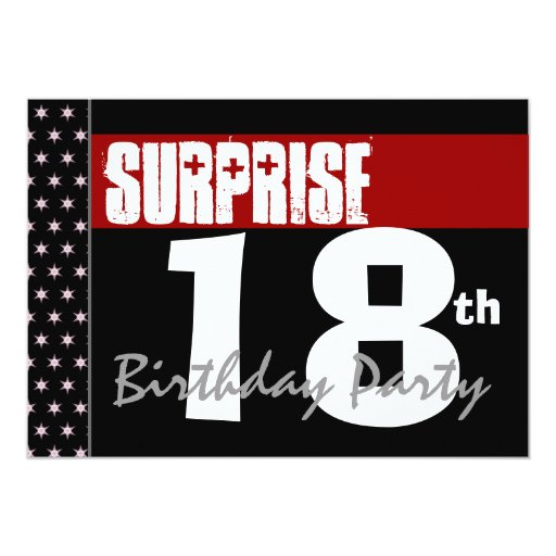 """Surprise 18th Birthday Party Modern Black And Red 5"""" X 7"""