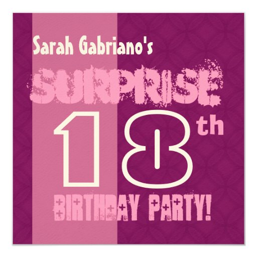 SURPRISE 18th Birthday Party Modern Pink W560 Invitation