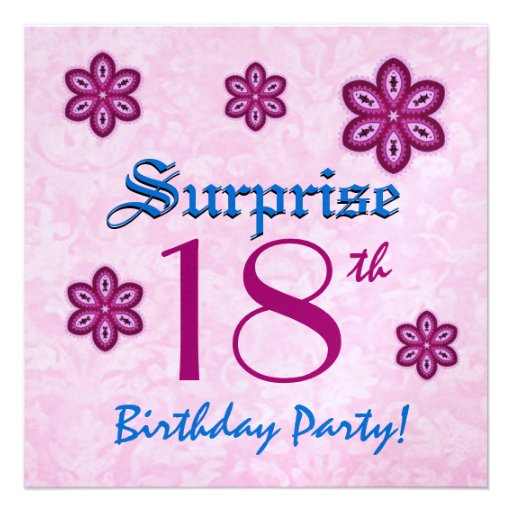 SURPRISE 18th Birthday Party Pink Lace Flowers 5.25x5.25