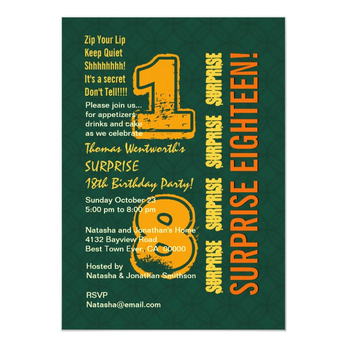 SURPRISE 18th Modern Birthday Green and Gold W533 Card