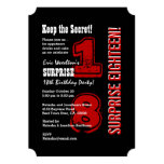 SURPRISE 18th Modern Birthday Red Black White A01 Card