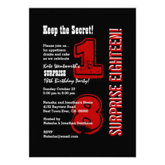 SURPRISE 18th Modern Birthday Red Black White V01C Personalized Announcement