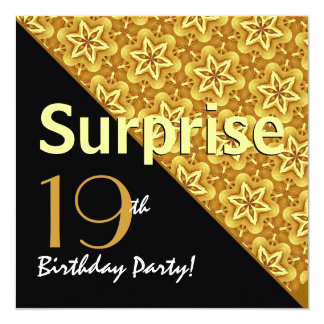 SURPRISE 19th Birthday Gold Star Pattern Invites