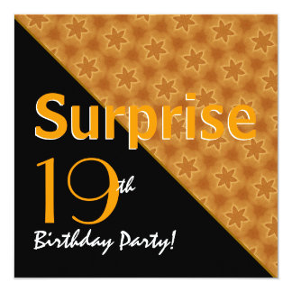 SURPRISE 19th Birthday Gold Star Pattern Custom Announcements