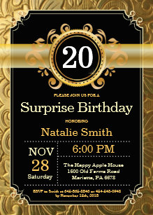 Surprise 20th Birthday Invitation Black And Gold