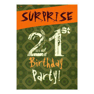 SURPRISE 21st Birthday Chocolate Green Orange W505 Personalized Invitation