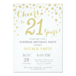 Surprise 21st Birthday Gold Glitter Diamond Invitation
