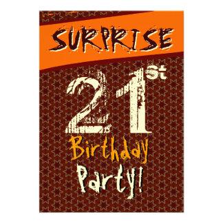 SURPRISE 21st Birthday Gold Orange Brown Star W502 Personalized Invites