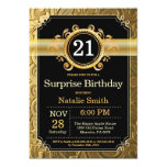 Surprise 21st Birthday Invitation Black and Gold